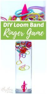 DIY Rainbow Loom Band Ringer Game Sensory Bottle