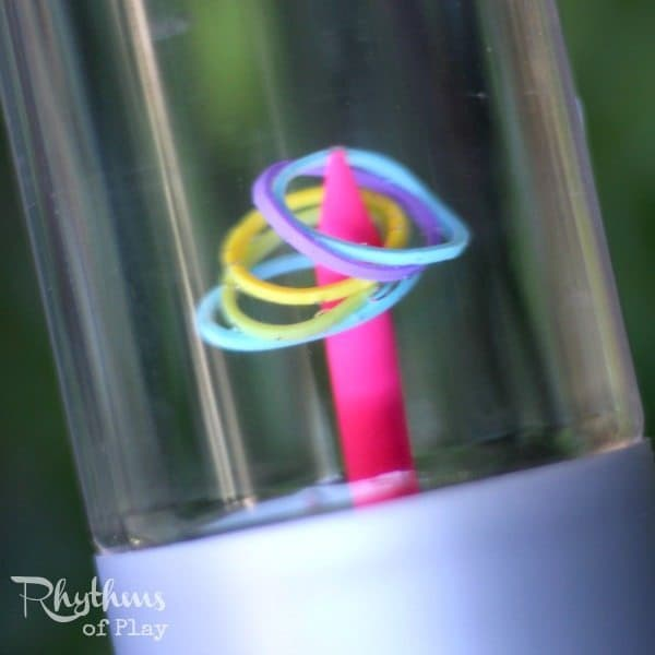 DIY Rainbow Loom Band Ringer Game Sensory Bottle Ringer