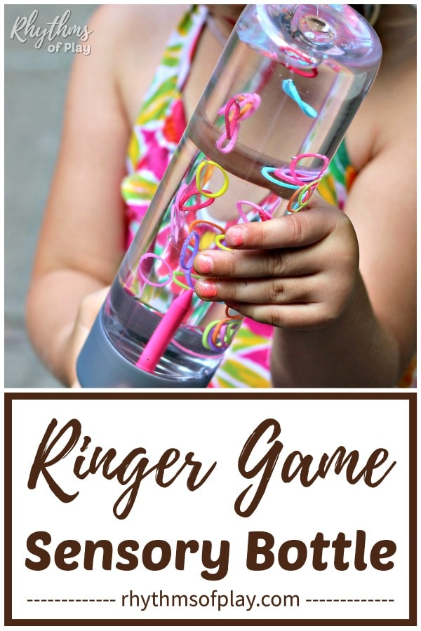 kid playing with ringer game DIY sensory bottle