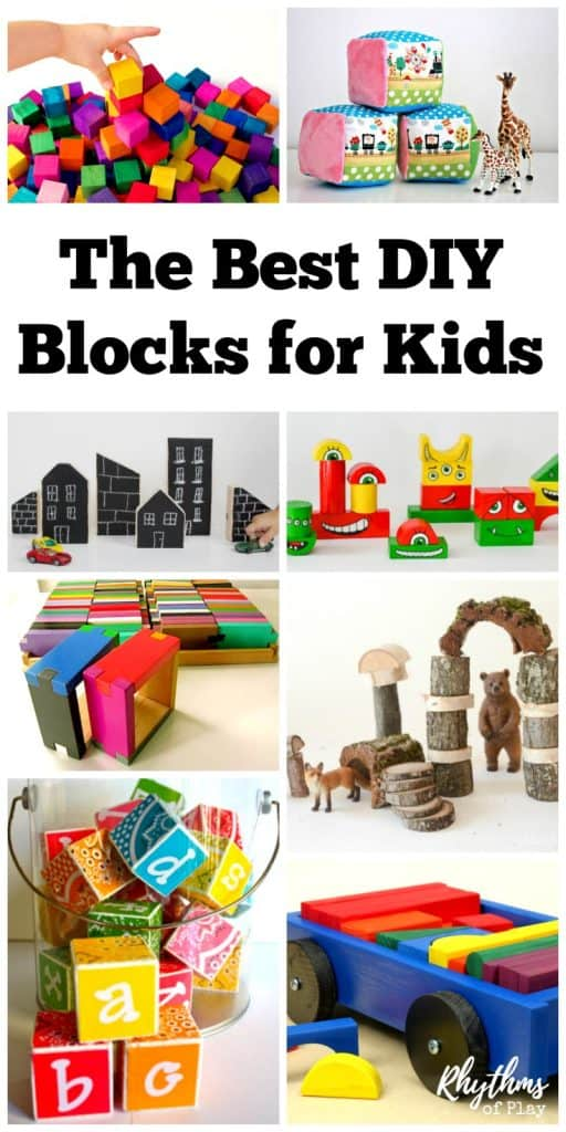 Every kid should have at least one good set of blocks. These DIY blocks for kids make it easy to have enough for everyone! I have placed this amazing collection of DIY blocks for babies, toddlers, preschoolers, elementary aged kids, teens and adults into categories so you can easily find what you are looking for. There are blocks with the letters of the alphabet (ABC blocks), recycled blocks, basic wood blocks, interlocking blocks, colored blocks, painted blocks, house, city, and people blocks, natural Waldorf blocks and outdoor blocks--whew! Enjoy making one of these sets or find inspiration to create your own!