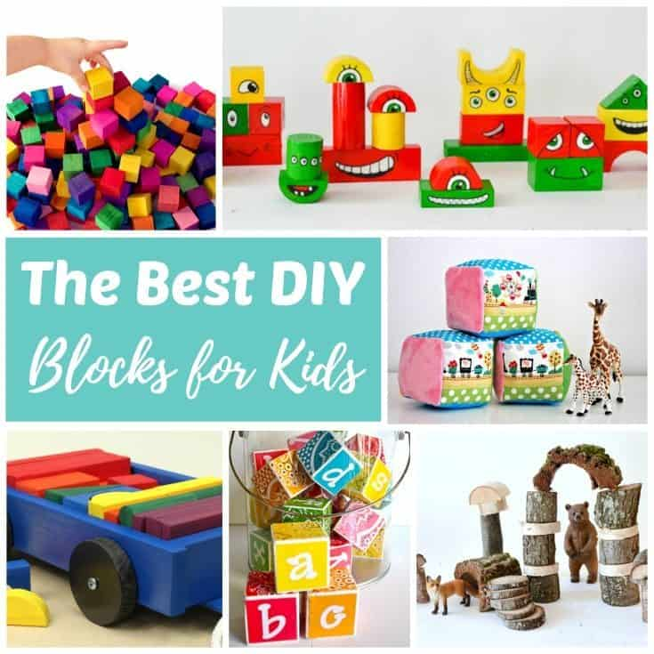 Every kid should have at least one good set of building blocks. These DIY blocks are for babies, toddlers, preschoolers, elementary aged kids. Click through to find soft, alphabet, basic wood, rainbow and recycled block sets you can make yourself!
