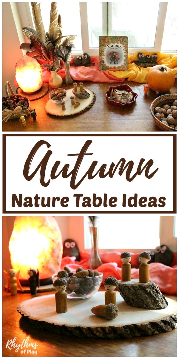 Fall nature table ideas - rustic DIY autumn decor