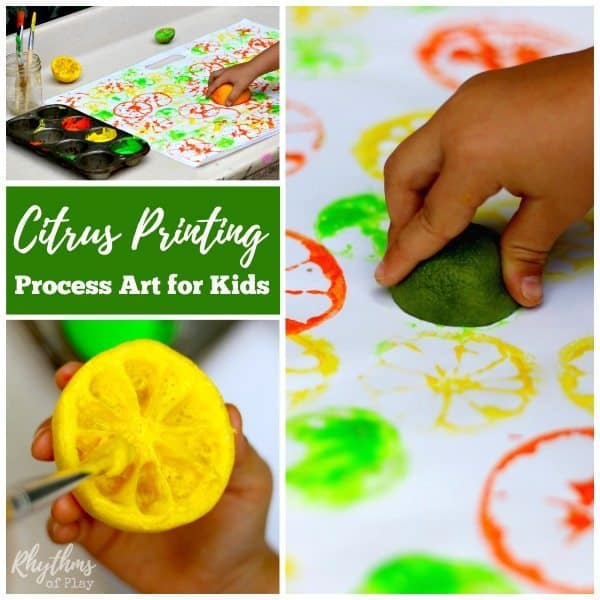 citrus printing process art is an easy art project and painting idea for children it