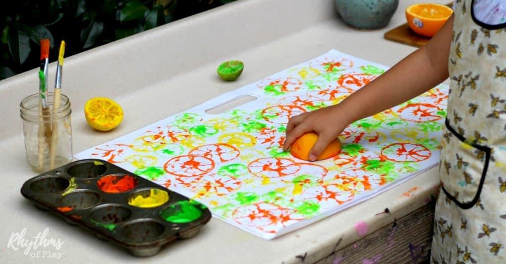 Citrus printing process art for kids fb
