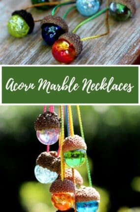 DIY acorn marble necklaces nature craft and homemade gift idea.