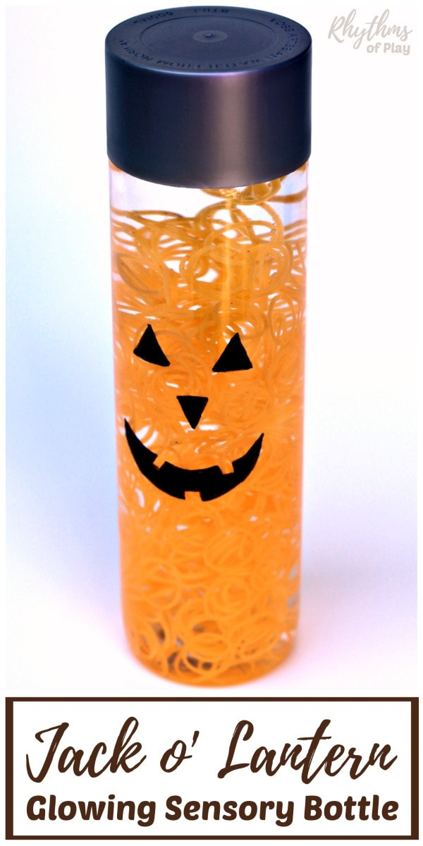 Jack o' Lantern glowing Halloween sensory bottle diy