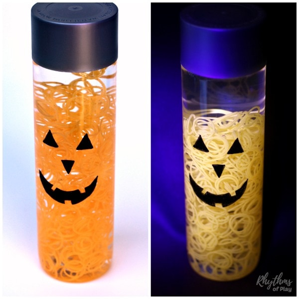 Glowing Jack o' Lantern Halloween Sensory Bottle for Kids