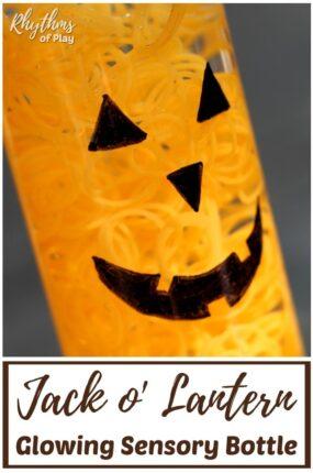 Glow in the Dark Halloween Pumpkin Sensory Bottle DIY