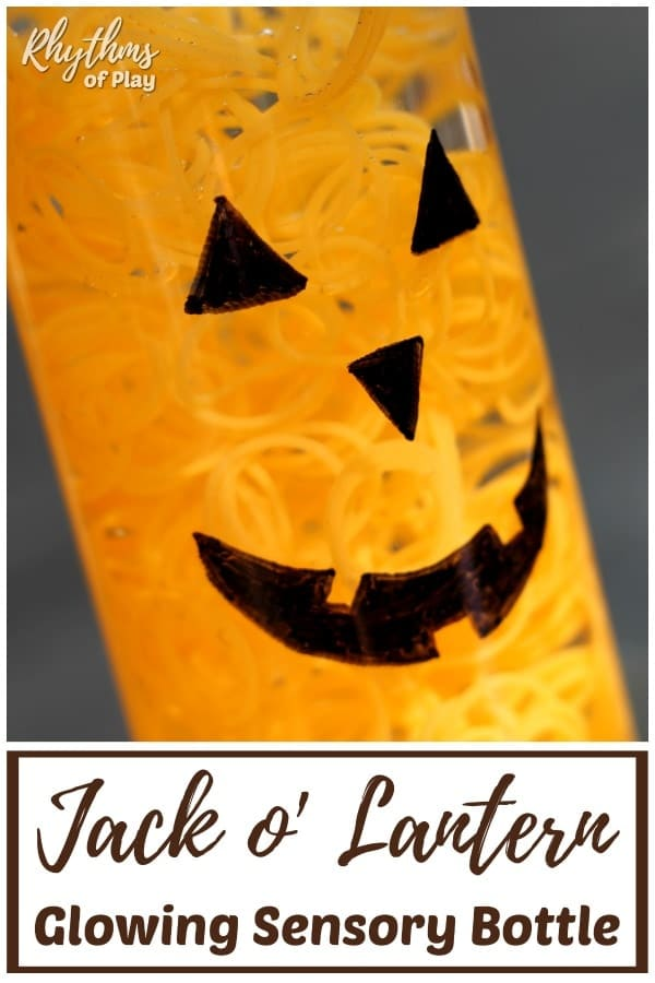 Glow in the Dark Halloween Pumpkin Sensory Bottle DIY