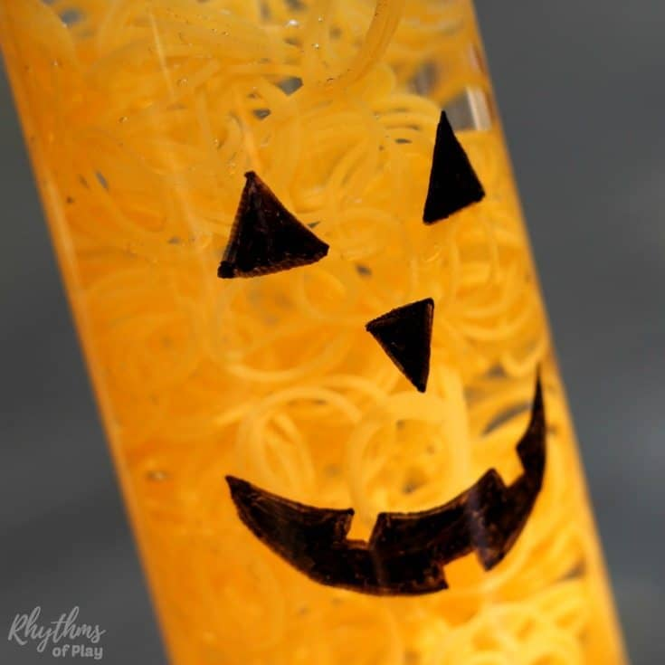 Air Bag Jack >> Glow in the Dark Halloween Pumpkin Sensory Bottle | Rhythms of Play