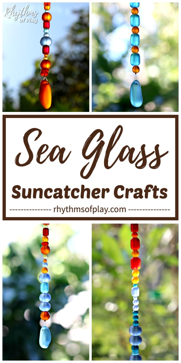 Homemade sea glass suncatcher crafts for kids and adults to make.