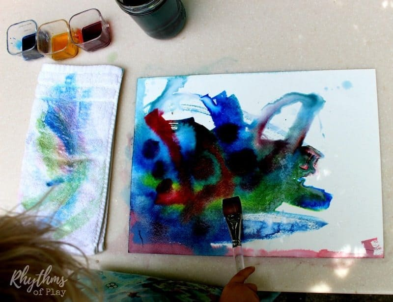 Three color wet-on-wet watercolor painting liquid watercolors