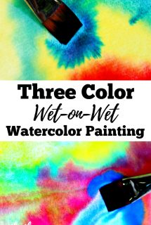 Three Color Wet-on-Wet Watercolor Painting for Kids