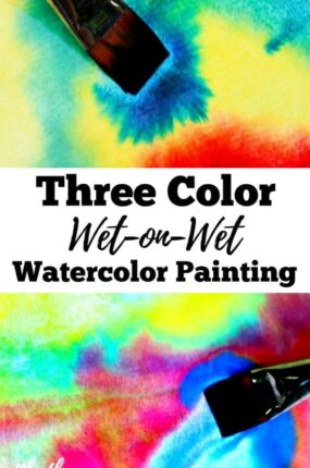 Three color wet-on-wet watercolor painting is a simple art activity to help young children learn about and experience color. It is a process art paint technique used and taught in Waldorf education in schools and homes all over the world. When finished your beautiful creations can be made into cards and other crafts. An easy art project for homeschoolers and a fun after school idea for kids!