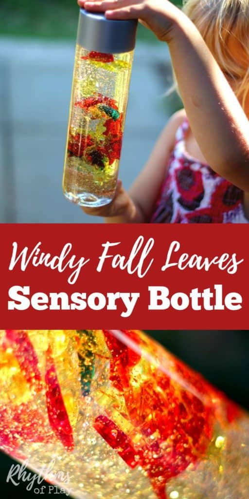 Calm down sensory bottles like this windy fall leaves sensory bottle are commonly used for safe no mess sensory play, and to help children (and adults) calm down and unwind. This autumn discovery bottle can also be used to help teach about the wind and changing seasons.