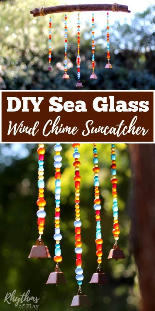This rustic DIY Sea Glass Wind Chime Suncatcher is a unique outdoor decoration you can make to hang on the patio, or in the backyard or garden. A simple beaded homemade craft. Click through to learn how to make one of your own with the easy to follow tutorial.