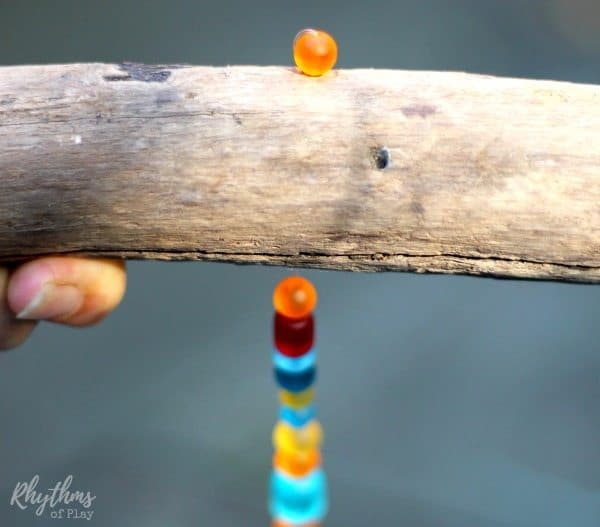 DIY Sea Glass Wind Chime Suncatcher attached strand