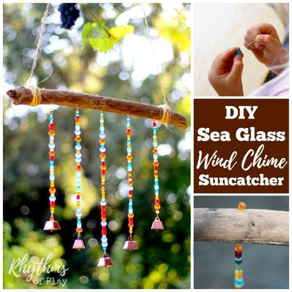 A DIY Sea Glass Wind Chime Suncatcher is a unique outdoor decoration you can make to hang on the patio, or in the backyard or garden. Using glass beads and small cowbells makes this a simple beaded homemade craft. They look beautiful in any light... But they are magical when the sun hits them. Click through to learn how to make one of your own with the easy to follow tutorial.