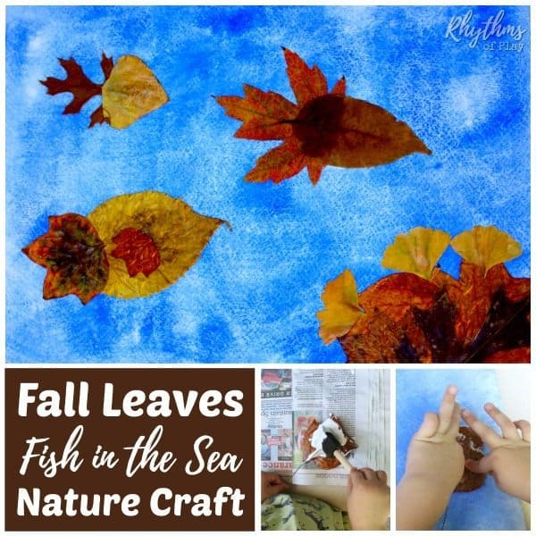 fall art - make a fish nature craft with real autumn leaves.