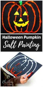 Halloween Pumpkin Salt Painting for Kids