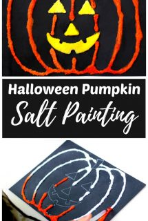 Halloween Pumpkin Salt Painting for Kids