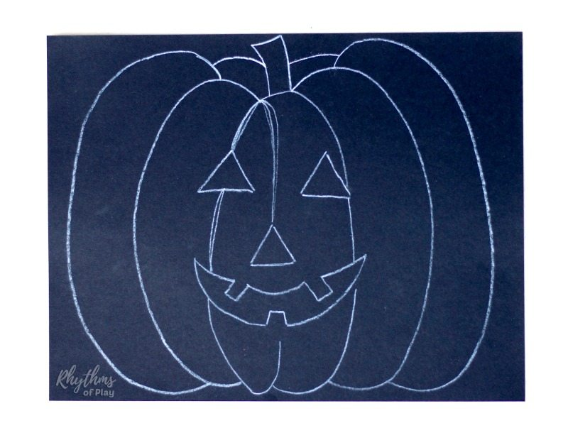 Halloween pumpkin art project for kids - how to start salt painting