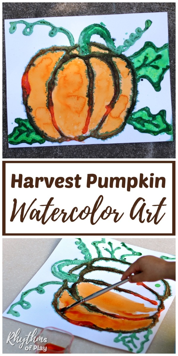 fall harvest pumpkin art project - salt painting with watercolors