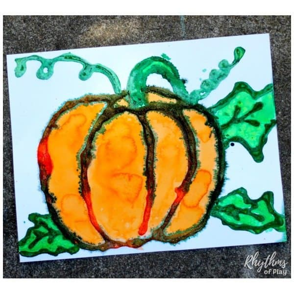 Harvest pumpkin watercolor art project rhythms of play for Watercolor painting and projects