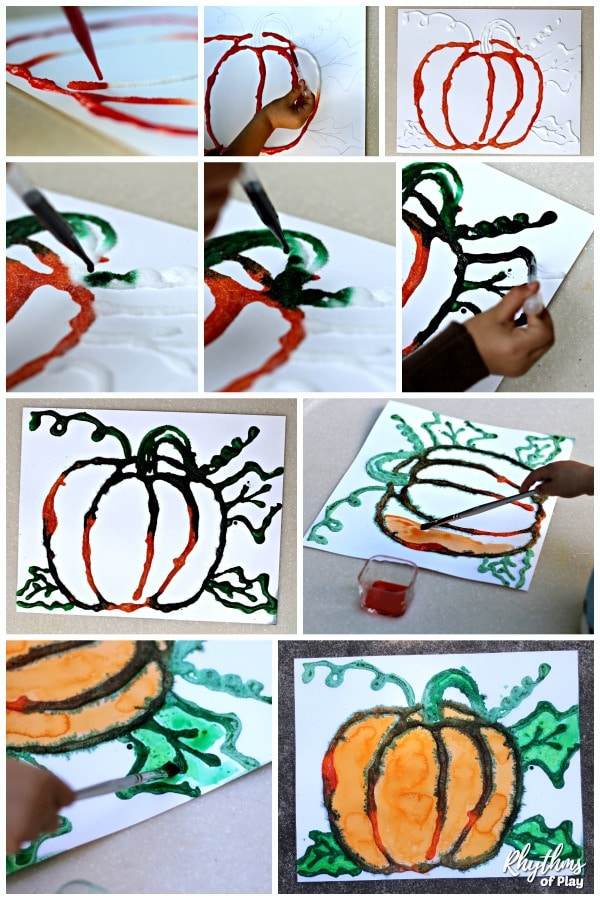 Create fall harvest pumpkin art photo tutorial - salt painting with watercolors