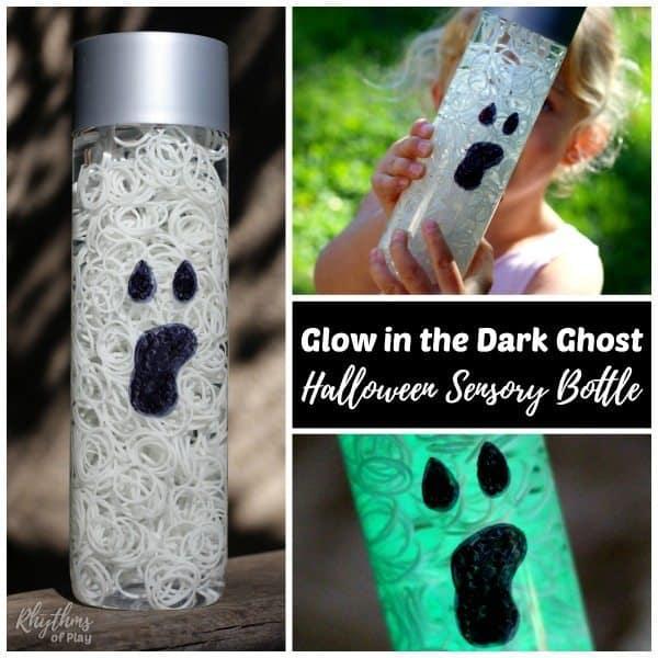 glowing ghost sensory bottle for Halloween