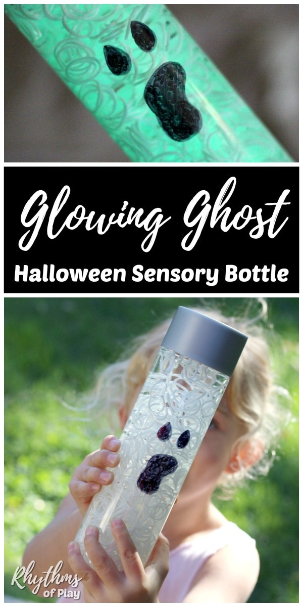 Glow in the dark DIY Halloween sensory bottle decoration.