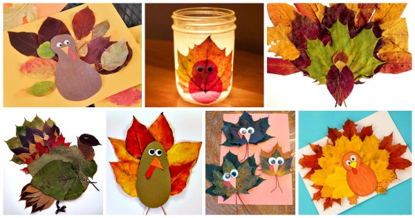 Thanksgiving crafts - leaf turkey crafts for kids