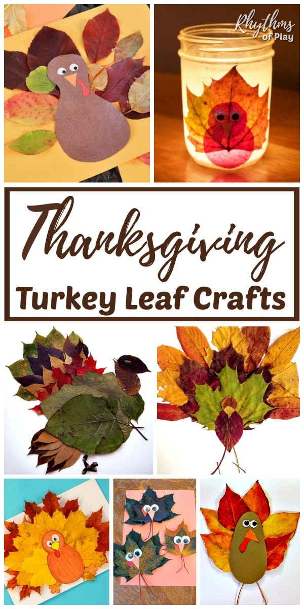 Thanksgiving turkey crafts made with autumn leaves for kids.