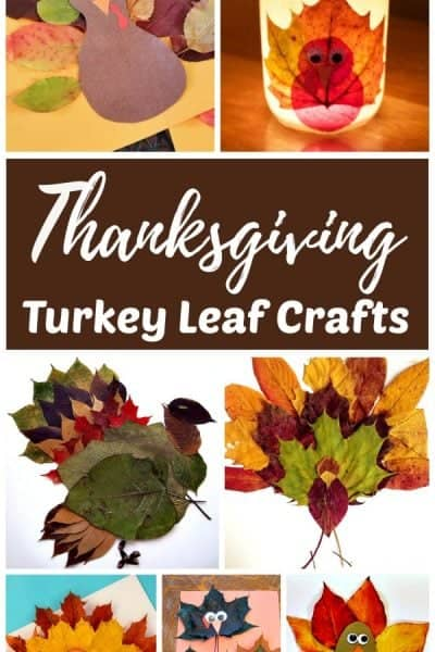 Thanksgiving crafts - turkey crafts made with real fall leaves
