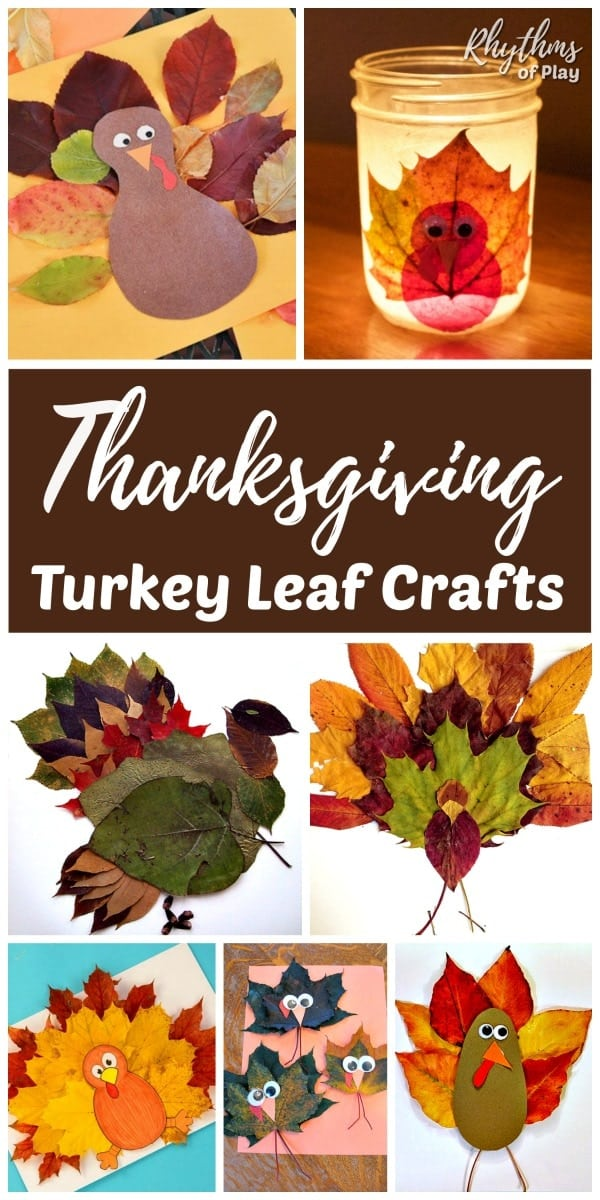 Thanksgiving crafts for kids - turkey crafts made with real fall leaves