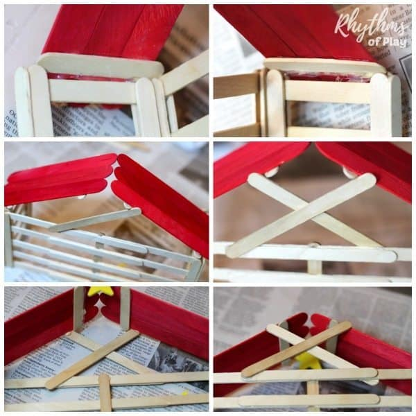 How to put the red jumbo popsicle stick roof onto the nativity stable