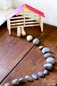 Kids and adults will both love making this DIY craft stick nativity stable. A fun DIY project the whole family can enjoy. It looks lovely displayed as Christmas home decor and makes a great gift idea for the holidays. Click through for the easy to follow tutorials and details of how we areusing our handmade popsicle stick creche as an element in our advent calendar nativity scene.