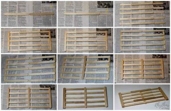 photos showing how to make the back wall of the craft stick nativity stable.