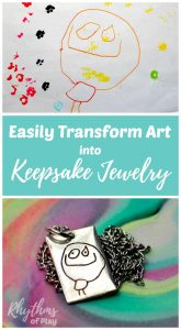Easily transform art into keepsake jewelry for a unique one of a kind gift idea. Homemade gifts with a personal touch are always a favorite for Christmas, Mother's Day and father's day. Mom, Dad, and the grandparents will love receiving artwork by the kids on a necklace, bracelet or keychain, while spouses lovers and friends can make something with a personalized touch for Valentine's day and anniversaries!