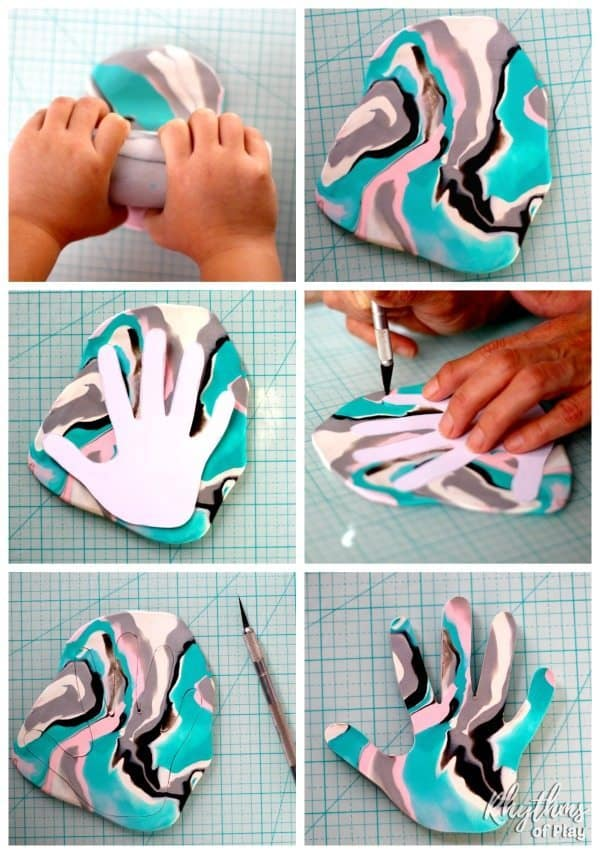 Family members love receiving handprint crafts that kids can make. This DIY marbled clay jewelry dish keepsake craft makes a unique homemade gift idea! A ring bowl and jewelry dish for mom, dad, and the grandparents.