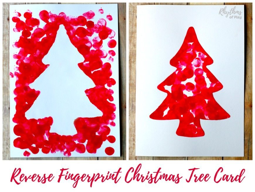 reverse fingerprint christmas tree card 870 landscape - Christmas Tree Card