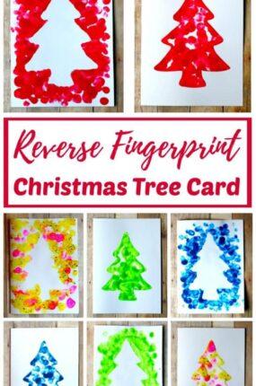 homemade fingerprint Christmas tree card kids can make
