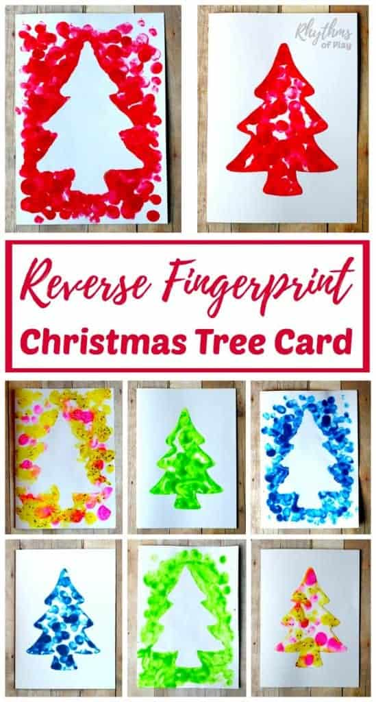 Reverse Fingerprint Christmas Tree Cards | Rhythms of Play