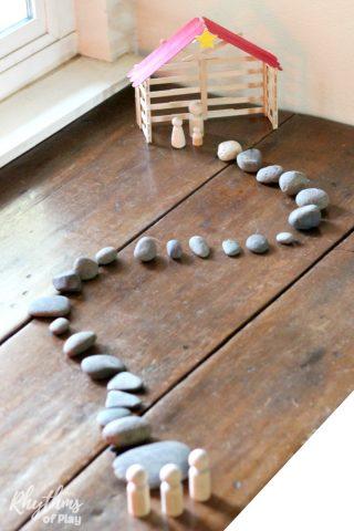 Simple Stone Advent Calendar Nativity Scene