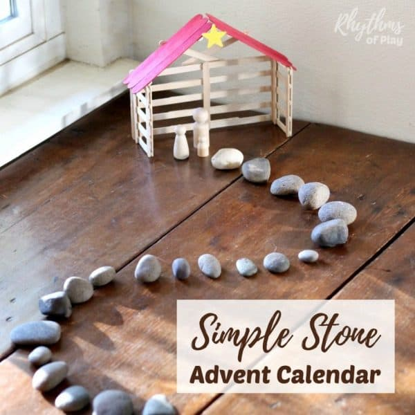 natural DIY advent calendar with stones used as a Christmas countdown