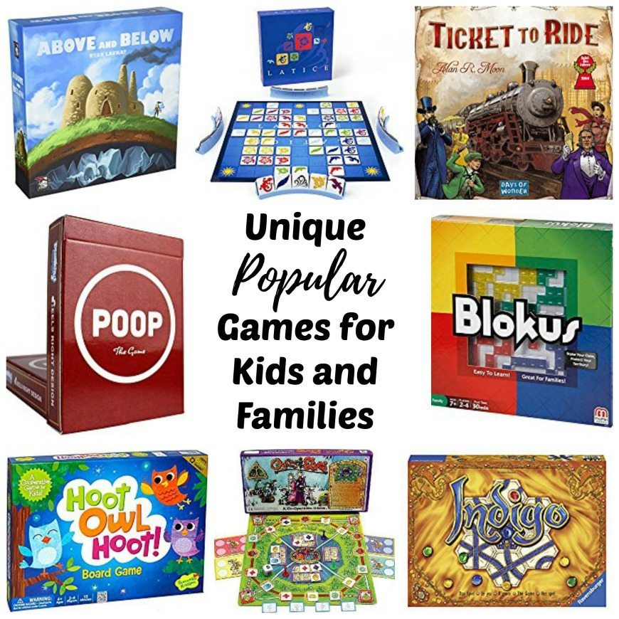 This list is filled with the best board games, card games, and dice games for family game night for two to multiple players. This collection of unique popular games for kids and adults of all ages make a great gift idea for Christmas and Birthdays. Families with preschool aged kids to teens will be able to find a new fun game to try on this list.
