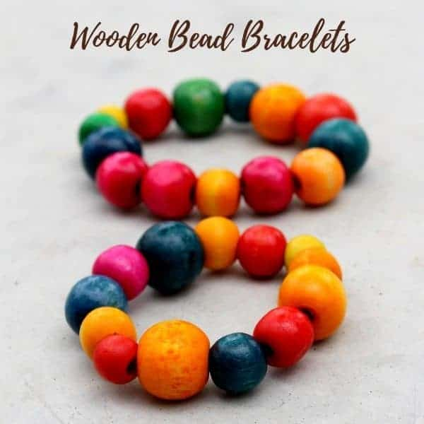 wooden bead bracelet gift idea from the kids
