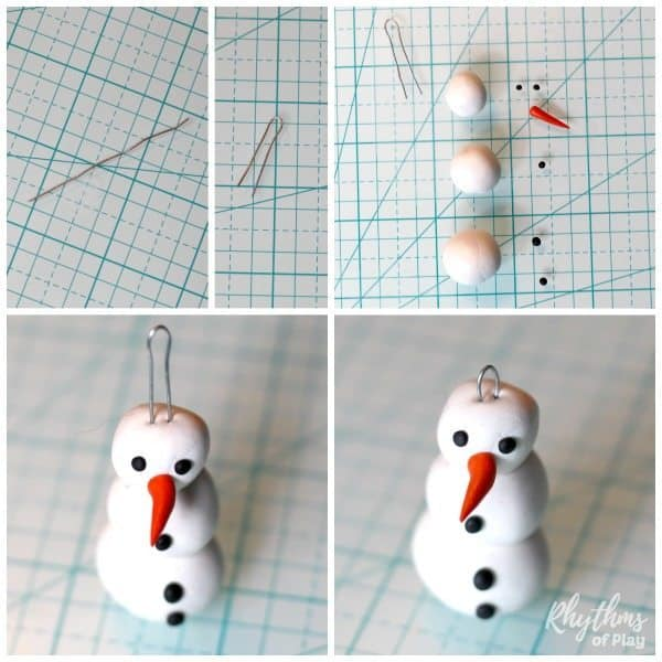 homemade snowman ornaments kids can make with polymer clay