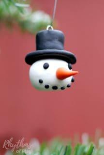DIY Polymer Clay Snowman Head Ornaments