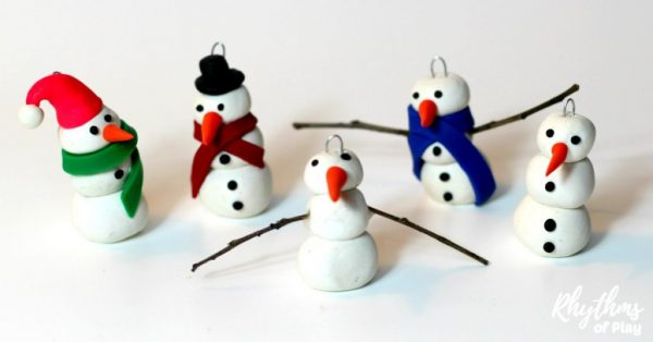 polymer clay DIY snowman ornaments - snowman crafts kids can make